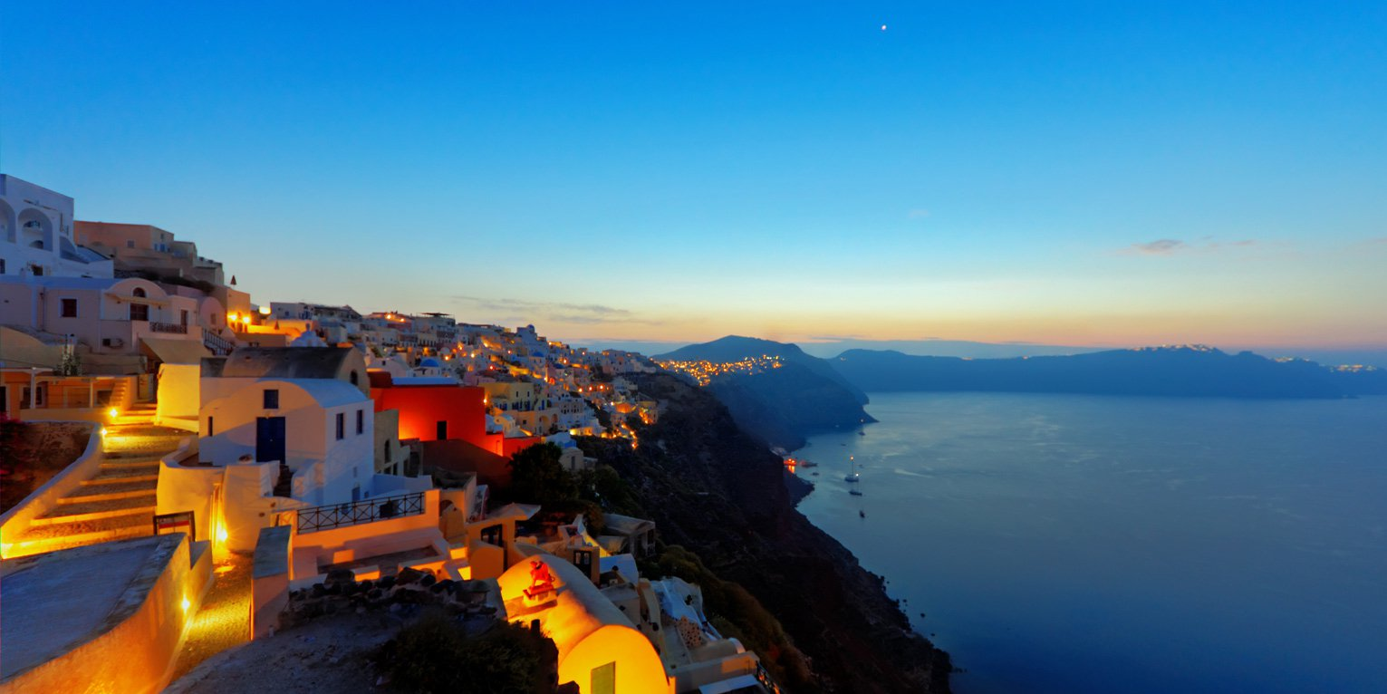 Santorini's Sea View by night